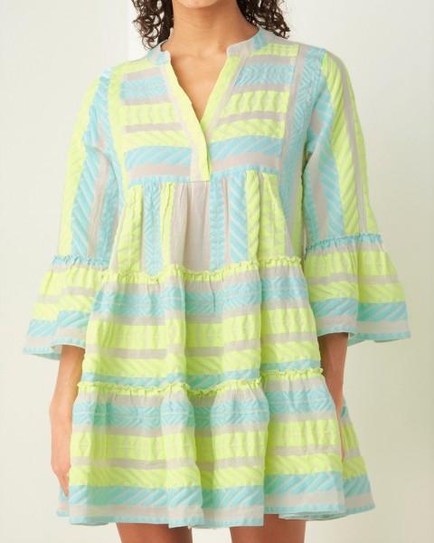 Tunika Kleid Ethno Muster ELLA Short in Neon Gelb Blau