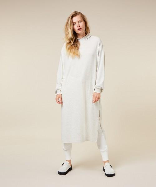Jersey Kleid mit Kapuze in Ecru Melange
