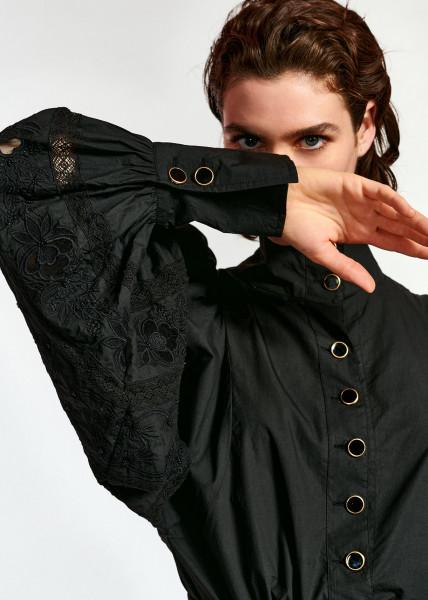 Bluse mit Stehkragen mit Puffärmeln in Schwarz