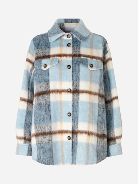 Overshirt Karo Jacke aus weichem Wolle-Mix in Blau