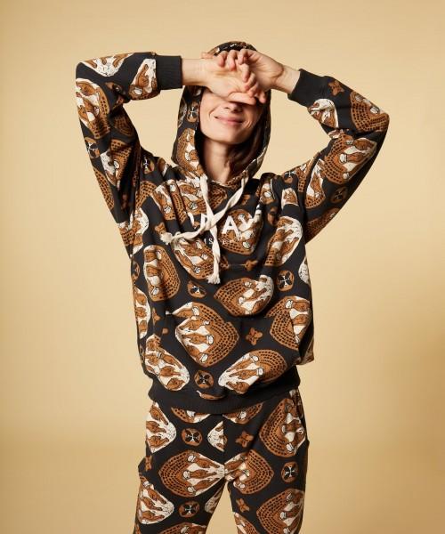 Hoodie Sweatshirt mit Ethno Print