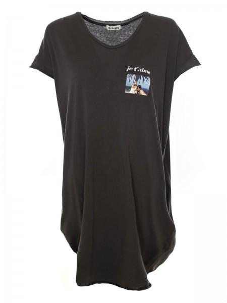 Shirtkleid mit Aufdruck Bella Merci in Grafit