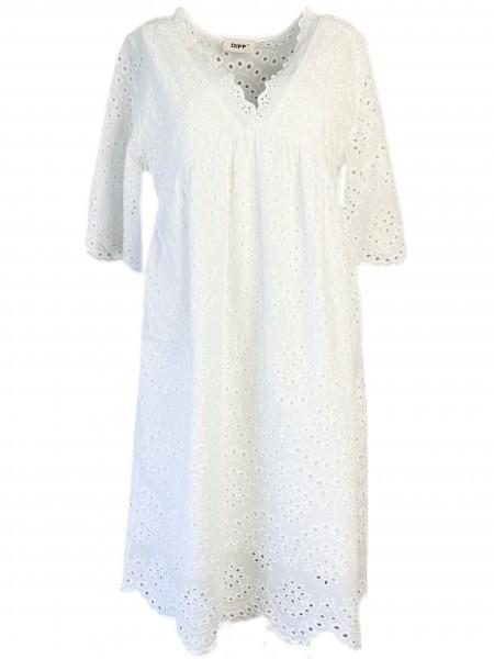 Kleid Lockstickerei in Baumwolle Weiß