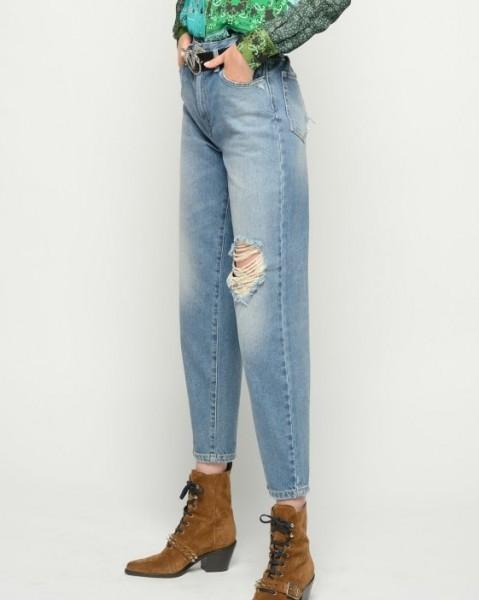 Jeans Mom fit Style mit Gummibund destroyed Blue