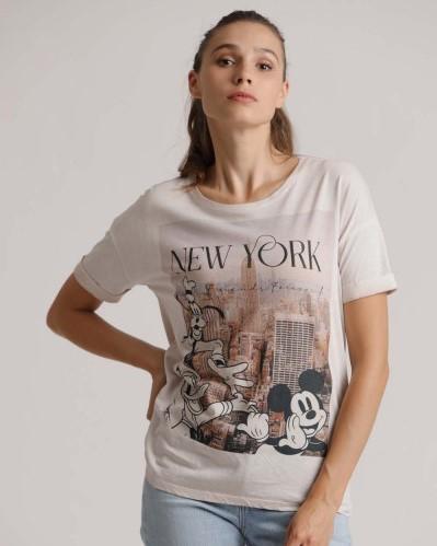 T-Shirt mit Disney Motiv NEW YORK in Nude