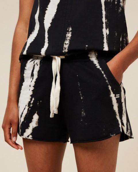 "Sweatshirt Shorts mit Tie-and-Dye-Print Schwarz ""Shorts Bamboo"""