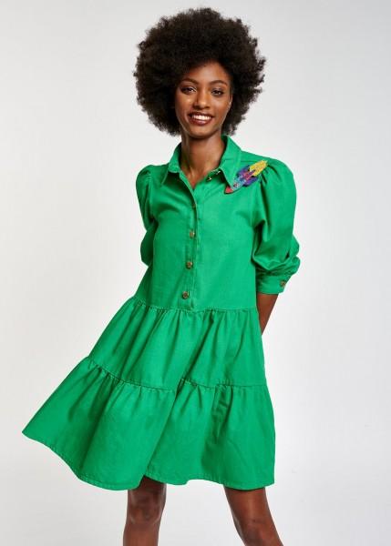 Stufenkleid mit 3/4 Puffärmel in Grün