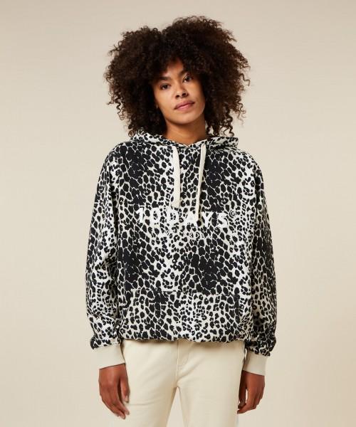 Hoodie mit Logo und Leoparden Print