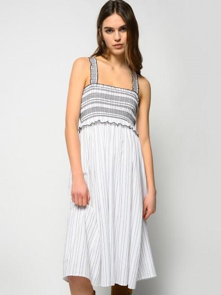 Trägerkleid aus Baumwolltuch mit feinem Streifendesign Weiß