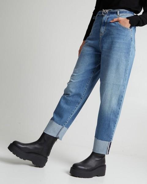 """Jeans mit Gürtel und Umschlag """"ESTER EGG FIT"""" in Blau"""