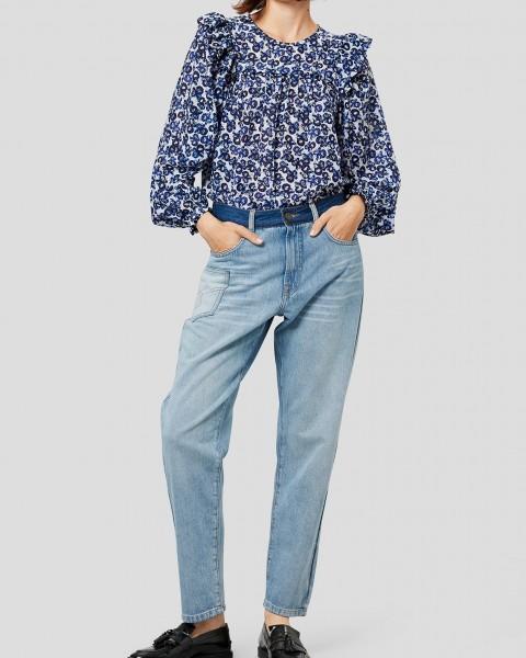 Boyfriend Jeans mit farblich abgesetzten Details in Blau