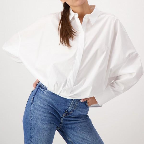 Bluse Oversize mit gerafftem Bund in Weiß