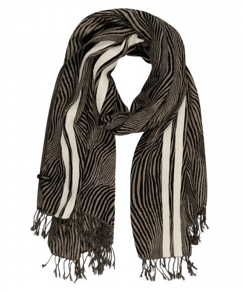 Schal in Wolle mit Zebra-Print und Fransen