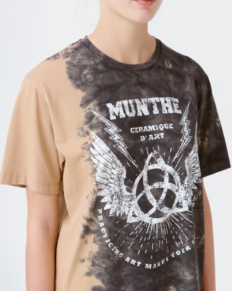 T-Shirt mit Print in Camel / Anthrazit