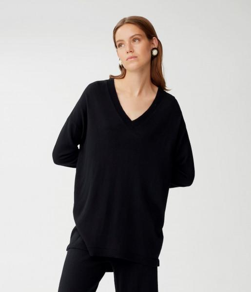Langer Pullover in -Merinowolle mit V-Ausschnitt Schwarz