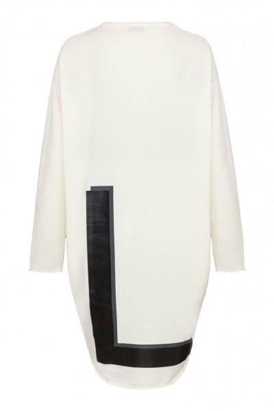 Jersey Kleid mit Rückenprint Belinda L in Champagne & Schwarz