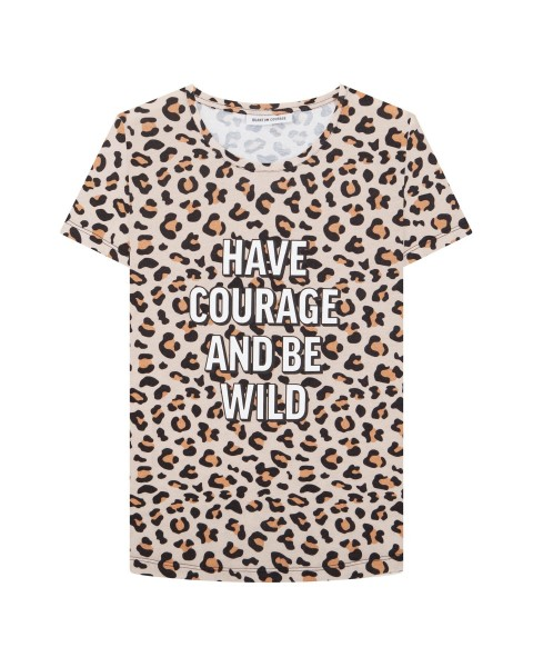 T-Shirt Leo Print HAVE COURAGE AND BE WILD