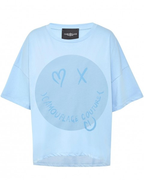 T-Shirt mit großem Smiley in Blue
