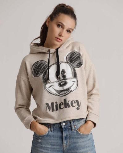 Kurzer Hoodie mit Mickey Mouse in Beige