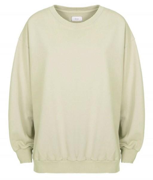 Sweatshirt ULLA oversized lang mit Seitenschlitzen in Schwarz & Hellgrün