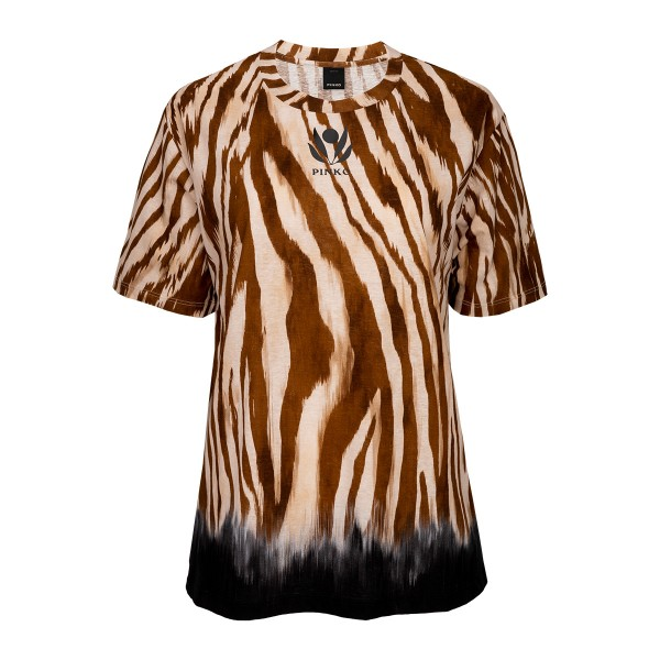 T-Shirt mit Animal Print und Batik
