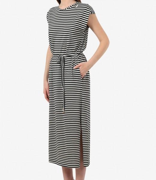 Maxikleid Jersey mit Streifen Schwarz-Weiß Organic Cotton