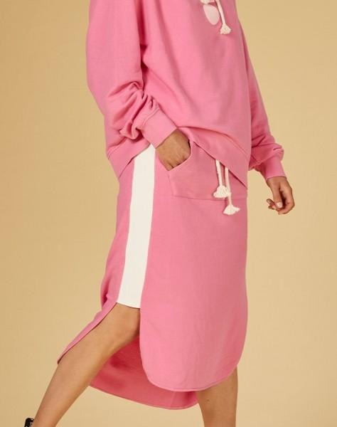 Midi Rock aus Sweatshirt Stoff Pink