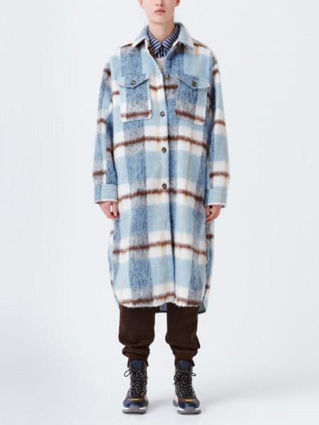 Overshirt Mantel mit Karo in Blau