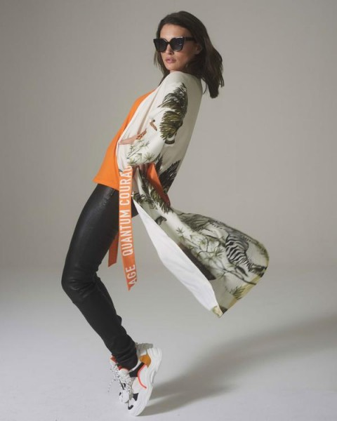 Kimono mit Safari Print mit Gürtel in Orange