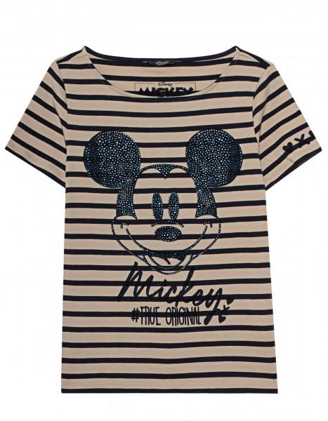 T-Shirt mit Streifen Mickey mit Strass Beige / Blau