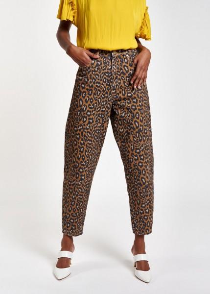 Jeans mit hohem Bund und Leoparden Print